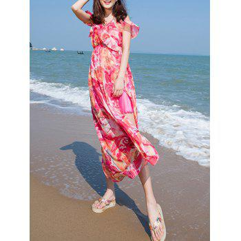Spaghetti Strap Flower Print Slit Short Sleeve Dress For Women