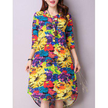 Casual Women's Jewel Neck 3/4 Sleeves Color Block Dress