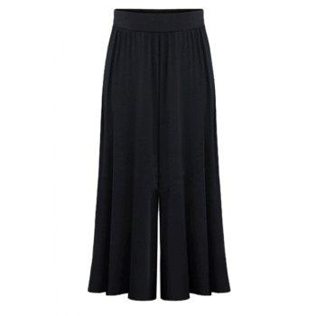 Casual Women's Elastic Waist Ruffled Solid Color Palazzo Pants - BLACK BLACK