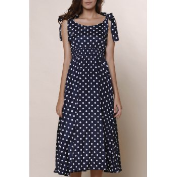 Sweet Bowknot Design Sleeveless Scoop Neck Polka Dot Women's Dress