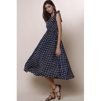 Sweet Bowknot Design Sleeveless Scoop Neck Polka Dot Women's Dress - BLUE M