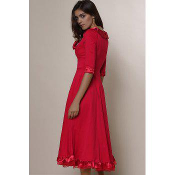 Vintage Solid Color Round Collar Flounced 3/4 Sleeve Dress For Women - S S