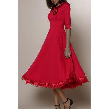 Vintage Solid Color Round Collar Flounced 3/4 Sleeve Dress For Women - RED L
