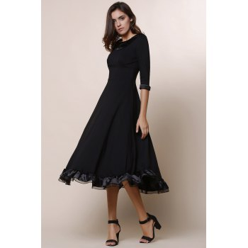 Vintage Solid Color Round Collar Flounced 3/4 Sleeve Dress For Women - L L