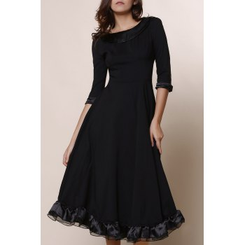 Vintage Solid Color Round Collar Flounced 3/4 Sleeve Dress For Women - BLACK L