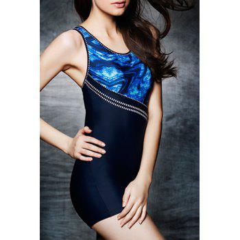 Sporty Women's U Neck Open Back Printed One Piece Swimsuit - BLUE M