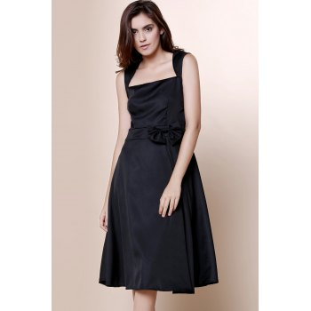 Vintage Turn-Down Collar Sleeveless Bowknot Embellished Solid Color Women's Dress - BLACK S