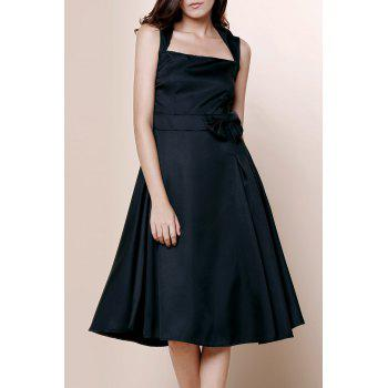 Vintage Turn-Down Collar Sleeveless Bowknot Embellished Solid Color Women's Dress - BLACK M