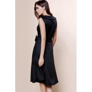 Vintage Turn-Down Collar Sleeveless Bowknot Embellished Solid Color Women's Dress - M M