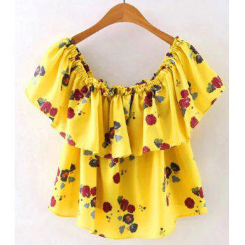 Simple Style Off the Shoulder Flower Print Flounce T-Shirt For Women