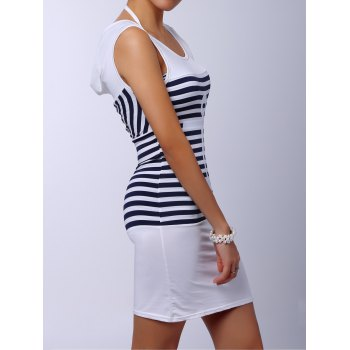 Casual Scoop Collar Sleeveless Anchor Pattern Striped Women's Dress - S S