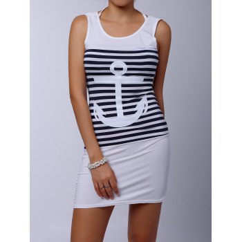 Casual Scoop Collar Sleeveless Anchor Pattern Striped Women's Dress - WHITE M