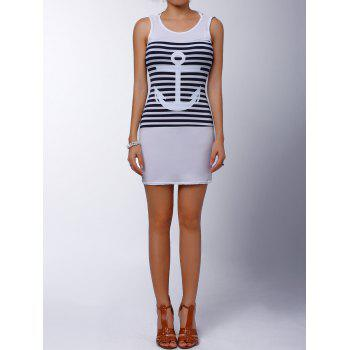 Casual Scoop Collar Sleeveless Anchor Pattern Striped Women's Dress - M M