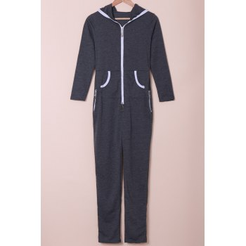 Trendy Hooded Zippered Long Sleeve Bodycon Jumpsuit For Women