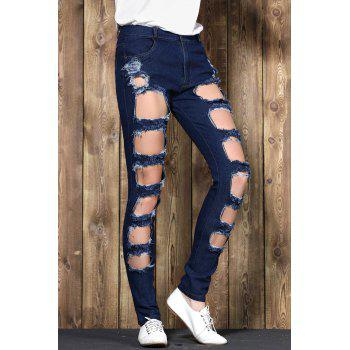 Fashionable Mid-Waisted Stretchy Ripped Boyfriend Jeans For Women - DEEP BLUE M