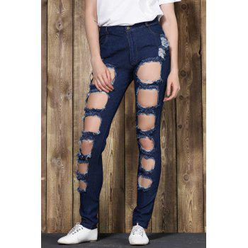 Fashionable Mid-Waisted Stretchy Ripped Boyfriend Jeans For Women - M M