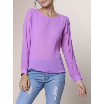 Casual Jewel Neck Hollow Out Long Sleeve Chiffon Blouse For Women