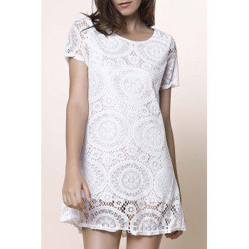 Stylish Short Sleeve Round Collar Solid Color Lace Women's Dress