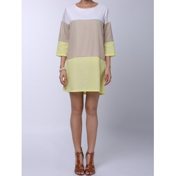 Round Neck 3/4 Sleeve Loose-Fitting Color Block Women's Dress - YELLOW YELLOW