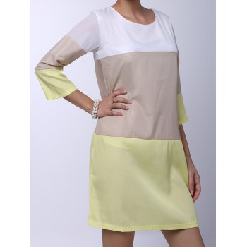 Round Neck 3/4 Sleeve Loose-Fitting Color Block Women's Dress - L L
