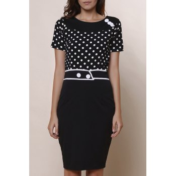 Stylish Scoop Neck Short Sleeve Slimming Polka Dot Women's Dress