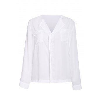 Elegant Women's V-Neck Solid Color Ruffled Blouse
