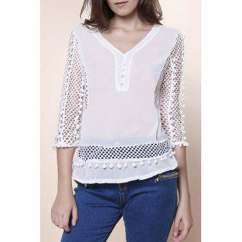 Elegant Women's V-Neck Hollow Out Fuzzy Ball Decorated 3/4 Sleeve Blouse