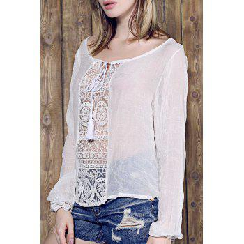 Skew Neck Long Sleeve Loose Fitting White Lace Spliced Blouse