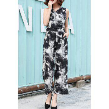 Chic Sleeveless V Neck Printed Women's Wrap Jumpsuit