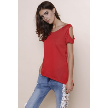 Stylish V-Neck Solid Color Cut Out Short Sleeve Women's T-Shirt - RED RED