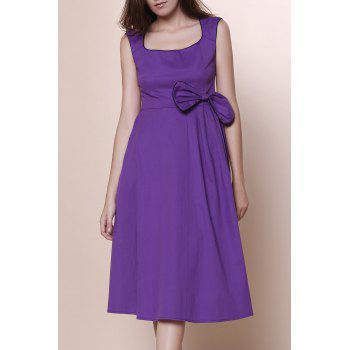 Retro Cap Sleeve Square Neck Bowknot Embellished Women's Dress