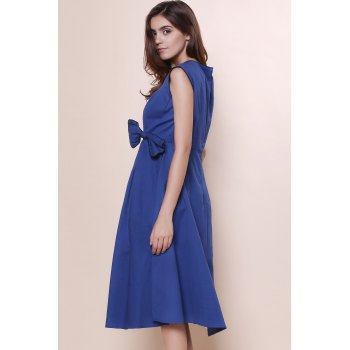Retro Cap Sleeve Square Neck Bowknot Embellished Women's Dress - BLUE 3XL