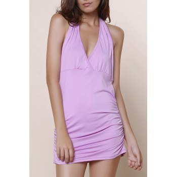 Halter Sleeveless Solid Color Backless Ruched Tank Top