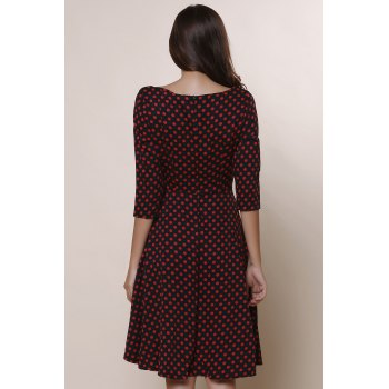 Vintage Polka Dot Print Slash Neck Bowknot Design 3/4 Sleeve Dress For Women - WINE RED S