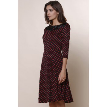 Vintage Polka Dot Print Slash Neck Bowknot Design 3/4 Sleeve Dress For Women - M M
