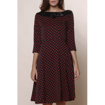 Vintage Polka Dot Print Slash Neck Bowknot Design 3/4 Sleeve Dress For Women - WINE RED L