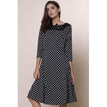 Vintage Polka Dot Print Slash Neck Bowknot Design 3/4 Sleeve Dress For Women - BLACK BLACK