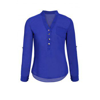 Simple Style V-Neck Chiffon Solid Color Long Sleeve Blouse For Women - BLUE BLUE
