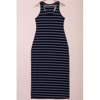 Sleeveless Scoop Neck Striped Maxi Dress