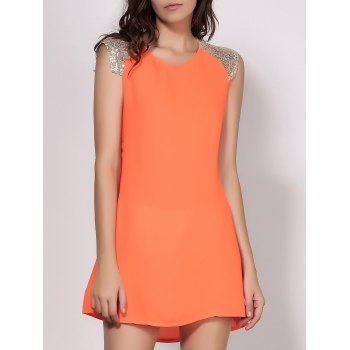 Attractive Scoop Neck Vivid Color Sequins Spliced Sleeveless Dress For Women