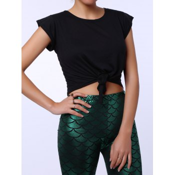 Stylish Round Collar Solid Color Short Sleeve Crop Top For Women - BLACK M