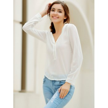 Stylish V-Neck Long Sleeve Zipper Design Solid Color Chiffon Women's Blouse - WHITE S