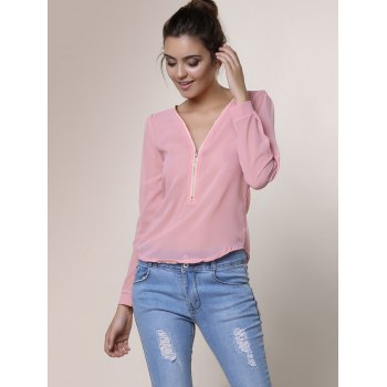 Stylish V-Neck Long Sleeve Zipper Design Solid Color Chiffon Women's Blouse - PINK 2XL