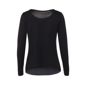Graceful Jewel Neck Sequin Splicing Long Sleeve Blouse For Women