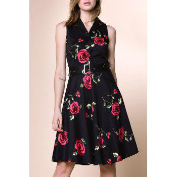 Retro Style Sleeveless Turn-Down Collar Flower Pattern Women's Dress