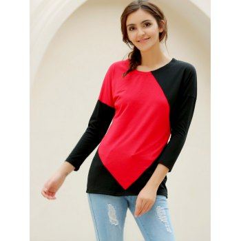 Elegant V-Neck Color Block Loose-Fitting Long Sleeve T-Shirt For Women - RED L
