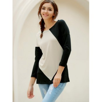 Elegant V-Neck Color Block Loose-Fitting Long Sleeve T-Shirt For Women - L L