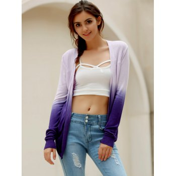 Stylish Collarless Long Sleeve Knitted Gradient Color Women's Cardigan - ONE SIZE(FIT SIZE XS TO M) ONE SIZE(FIT SIZE XS TO M)
