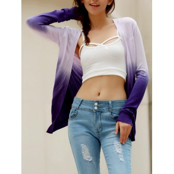 Stylish Collarless Long Sleeve Knitted Gradient Color Women's Cardigan - PURPLE ONE SIZE(FIT SIZE XS TO M)