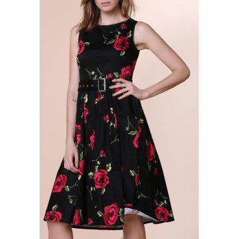 Retro Style Sleeveless Round Neck Roses Print Women's Ball Gown Dress